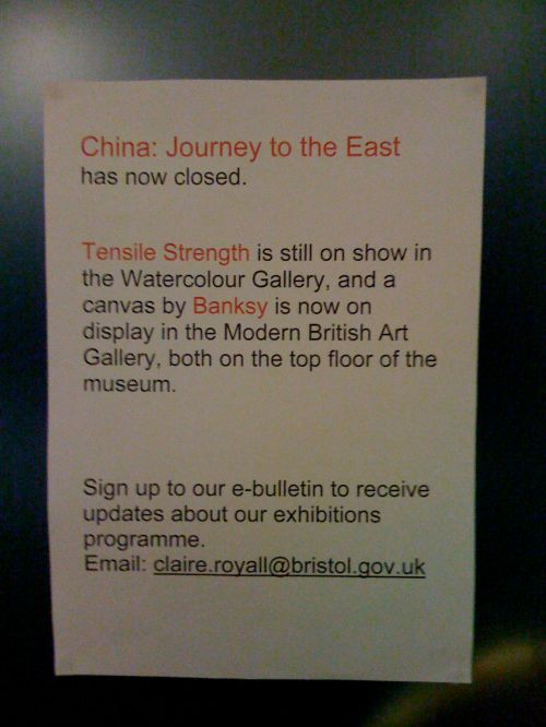 banksy museum show exhibition doors sign