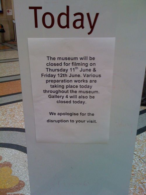 Banksy show preparation sign