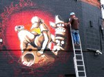 Flx painting the flames round Cheo's piece, Saturday