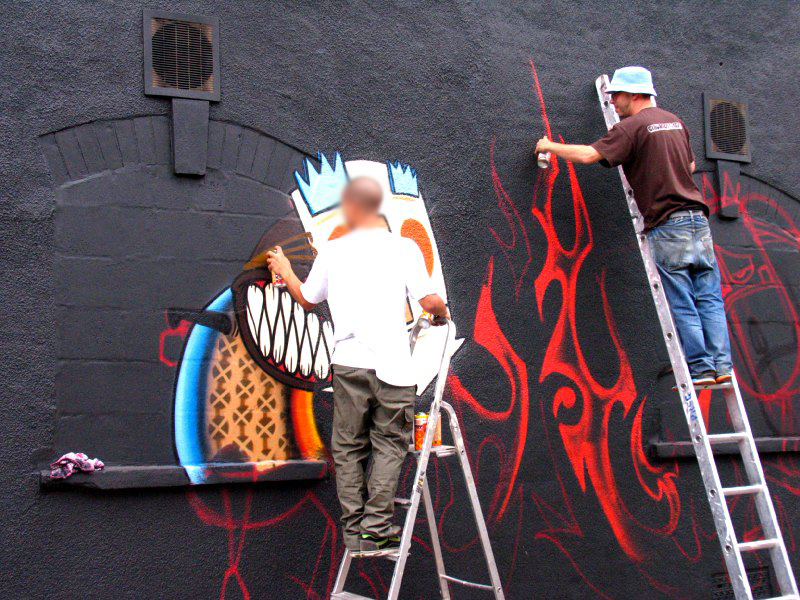 3Dom on a character round the fire Flx is painting, Saturday
